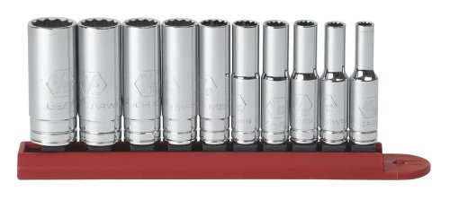 GearWrench 80309 10-Piece 1/4 Dr. 12-Point Deep SAE Socket Set