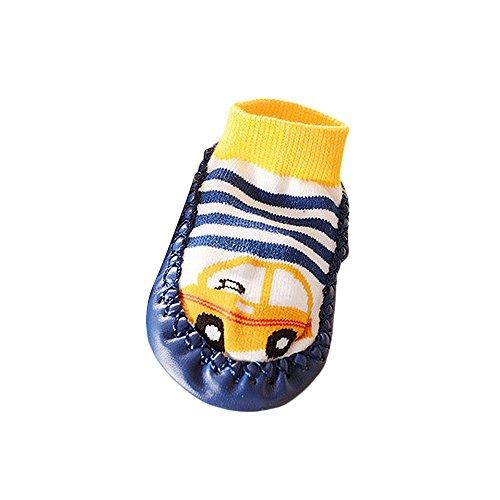 Kingko® Cartoon bambini bambino del bambino scarpe antiscivolo calzino stivali calzini del pistone (12~24 mesi, Blu)