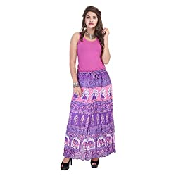 Rangkrit Beautiful Cotton Printed A-Line Purple Long Skirt