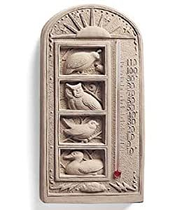 Cast CONCRETE Stone WILD BIRD Indoor Outdoor GARDEN THERMOMETER Quail OWL Duck