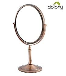 Dolphy Copper 5x Magnification Tabletop Shaving & Makeup Vanity Mirror - 8 Inch