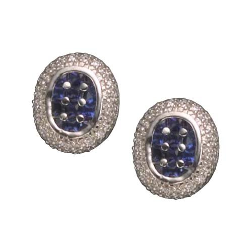 C.Z. SAPPHIRE OVAL RHODIUM PLATED (.925) STERLING SILVER EARRINGS (Nice Holiday Gift, Special Black Firday Sale)