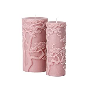 Blissliving Home Bonsai Pillar Candle, Pink, 4 by 8 Inches