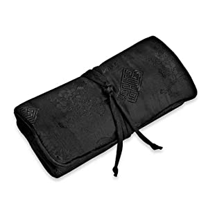 Jewelry Roll Large - Silk Jacquard (Black)