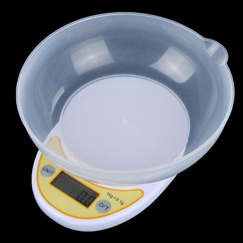 KKMOON Petit et portable électronique cuisine échelle 5kg / 1g blanc avec bol
