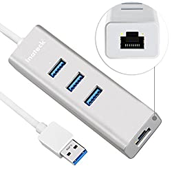 [2-in-1] Inateck Unibody Aluminum 3 Ports USB 3.0 Hub with Driver-Free RJ45 10/100/1000 Gigabit Ethernet Adapter Converter LAN Wired Network Adapter, Built-in 1ft USB 3.0 Cable