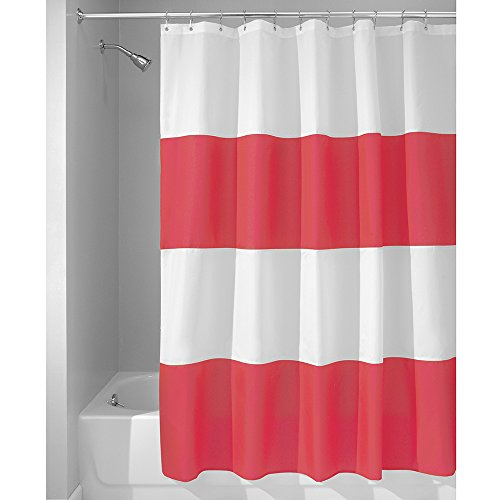 InterDesign Mildew-Free Water-Repellent Zeno Fabric Shower Curtain, 72-Inch by 72-Inch, Red/White (Red White Curtains compare prices)