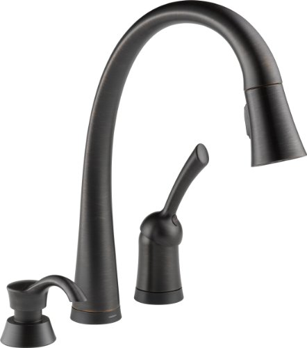Delta 980T-RBSD-DST Pilar Single Handle Pull-Down Kitchen Faucet with Touch2O Technology and Soap Dispenser, Venetian Bronze