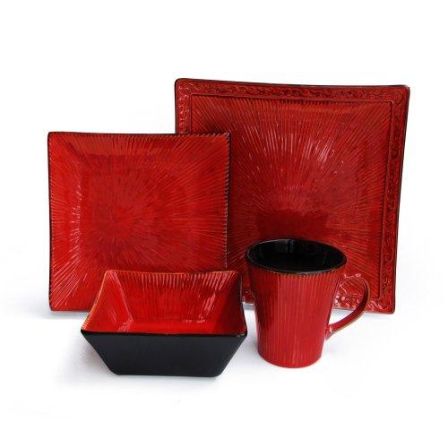 American Atelier Crimson Flare 16-Piece Dinnerware Set, Red