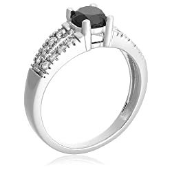 10k White Gold Black and White Diamond Ring (1 cttw)
