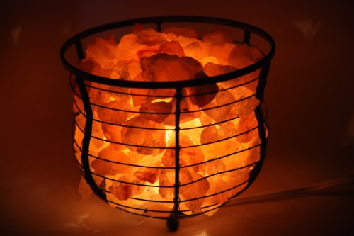 "HemingWeigh® Natural Air Purifying Himalayan Salt Metal Basket Bowl Lamp 8x7.15"" with Salt Chips, & Electric Bulb (Black Color)"