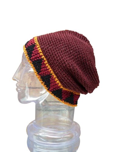 Hand Made Cotton Fold Up Brim Hat,Earthtone Toboggan Warm Winter Ski Cap front-492929