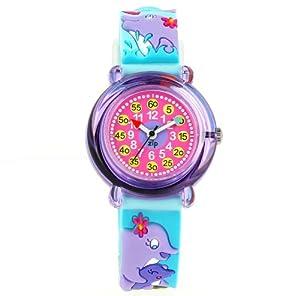 Baby Watch - 968 - Zip Dauphins - Montre Fille - Montre pédagogique 6-9 ans - Cadran Rose - Bracelet Plastique Bleu