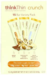thinkThin Crunch Variety Box, Gluten Free, 1.41-Ounce Bars (Pack of 15)