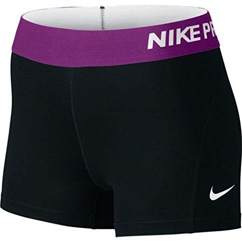 "Women's Nike Pro Cool 3"" Short Black/Cosmic Purple/White Size Small"