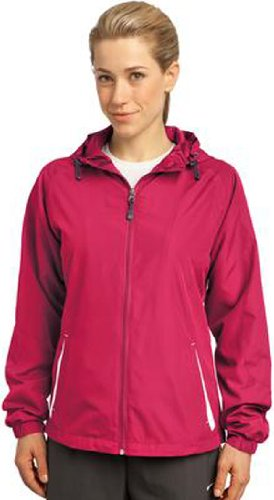 Sport-Tek - Ladies Colorblock Hooded Windbreaker Jacket. LST76,Small,Pink Raspberry / White