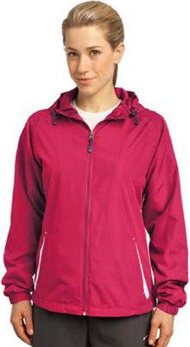 Sport-Tek - Ladies Colorblock Hooded Windbreaker Jacket. LST76,Small,Pink Raspberry / White