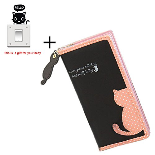 Sannysis® Titolare Moda Donna Gatto borsa portafoglio Long Borse PU Borse Carta (nero)