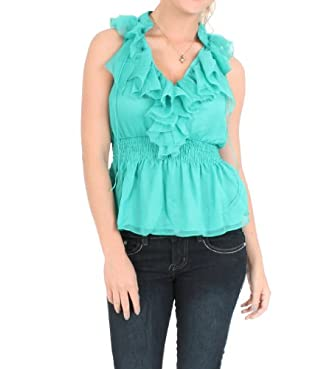 A & Co. Ruffled Smocked Blouse in Sea Green