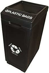 Forte Products 8002235 Open Top Plastic Recycle Bin with Plastic Bags Graphic, 14.5\