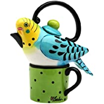 Appletree 7-1/4-Inch Ceramic Blue Parakeet Tea For One