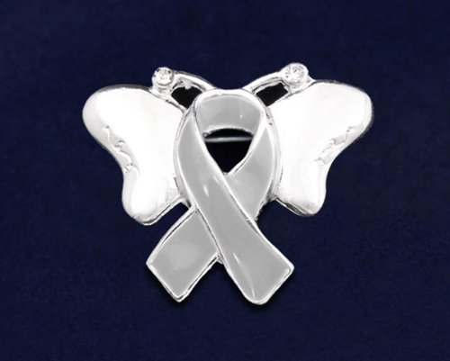 Gray Ribbon Butterfly Pin (27 Pins)