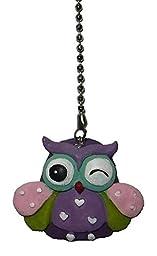 cute hoot OWL shaped ceiling Fan Pull light chain extender (PURPLE eyebrow)