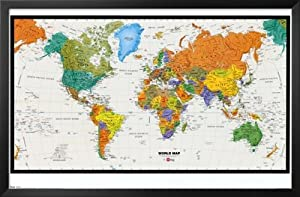 Professionally Framed World Map (Physical and Political) Art Poster Print - 22x34 with Solid Black Wood Frame