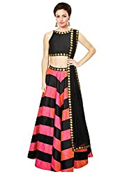 Rozdeal Designer Pink and black leriya Style Navratri Collection Lehnega Choli