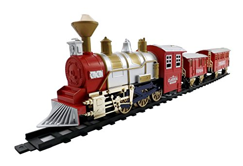 Classic Train Set for Kids with Smoke, Realistic Sounds, 3 Cars and 11 Feet of Tracks (13 pcs) colors may vary (Toy Trains For Kids compare prices)