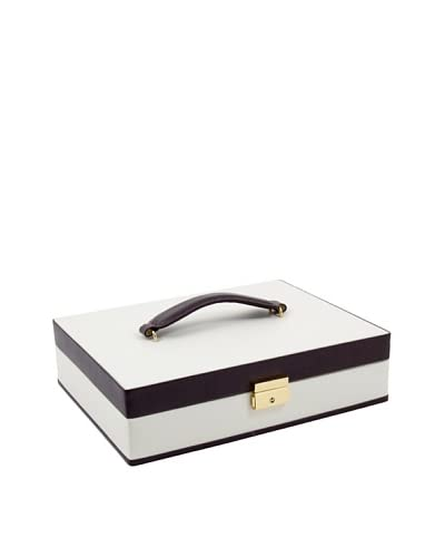 Bey-Berk Leather Jewelry Box, Ivory/Brown