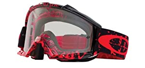 Oakley Proven MX Tagline Goggles with Red/Black Print Frame (Black Frame/Clear Lens)