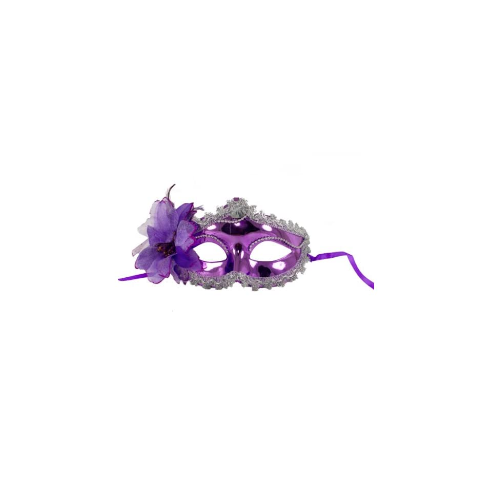 Go Charas Halloween Womens Masquerade Ball Glossy Mask One Size Purple Flower Rose