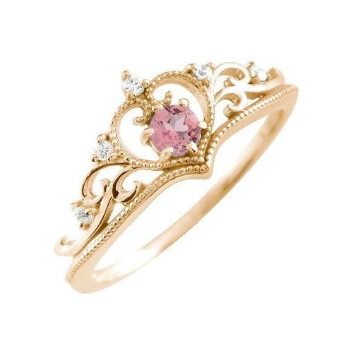 [アトラス] Atrus ティアラリング 選べる宝石 ミル打ち ピンクトルマリン ティアラ 王冠 ピンクゴールドK18 K18PG 18金 指輪 4号 ファッションリング
