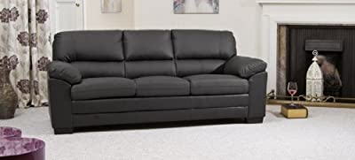 Sofa Collection Brand New Bonded 3-Seat Sofabed, Leather, Black, 92 x 214 x 91 cm