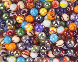 "Mega Marbles Player Marbles (Set of 24), Assorted, 5/8"" - 1"