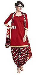 Red Color Cotton Patiala Salwar Suit Unstitched Dress Materials