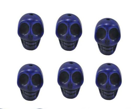 Lapis Lazuli Magnesite Dyed Gemstone Beads Carved Skull Beads, 20 X 17 X 14 (6 Per Set)