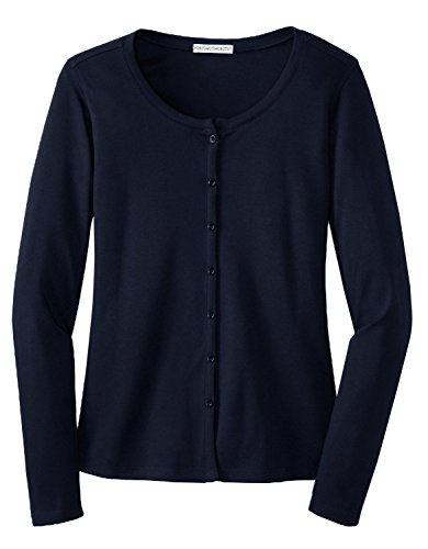 Port Authority - Ladies Silk Touch Interlock Cardigan. - Navy - L