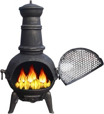Free Cover Bronze 85cm High Cast Iron Steel Mix Chiminea Chimenea Chimnea With Bbq Grill