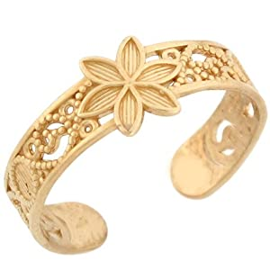 10k Solid Yellow Gold Flower Filigree Toe Ring