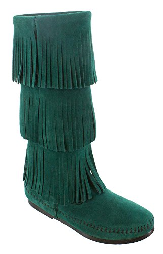 Minnetonka Women's Calf Hi 3-Layer Fringe Boot