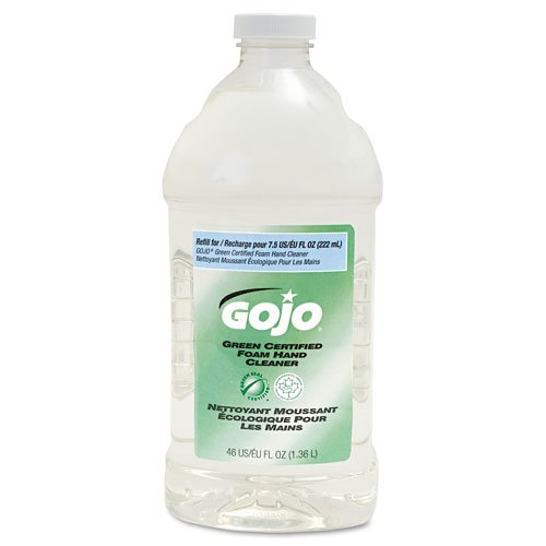 Go-Jo Ind Refill For Green Certified Foam Soap, Fragrance-Free, Clear, 46 Oz.