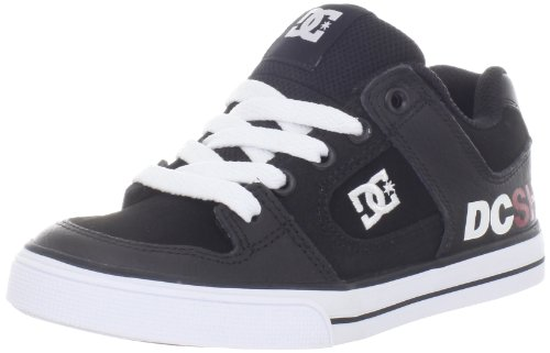 DC Kids Pure Skate Shoe (Little Kid/Big Kid),Black/White/Red,2 M US Little Kid