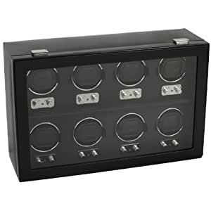 Wolf Designs Module 2.1 Heritage 8 Piece Watch Winder with Cover, Black