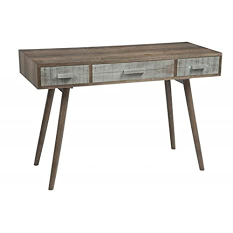 Mesa escandinava 3cajones de madera gris y natural