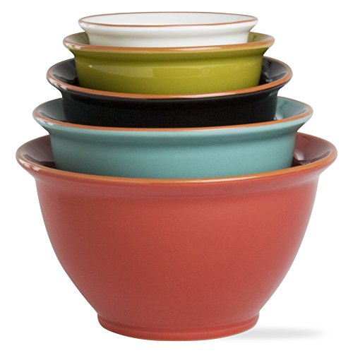 Tag 202540 6.25 by 11.4-Inch Terra Glazed Mixing Bowls, X-Large, Multicolor, Set of 5