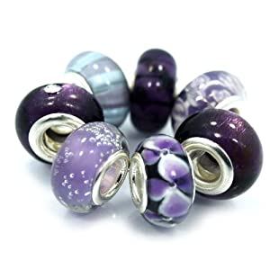 "7 Beads "" Shades of Purple"" murano glass beads fits Pandora Troll Chamilia Carlo Biagi Zable"