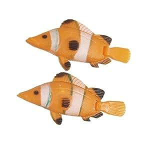 Jardin Plastic Flexible Swim Tail Long 2-Piece Simulation Fishes for Aquarium, Orange