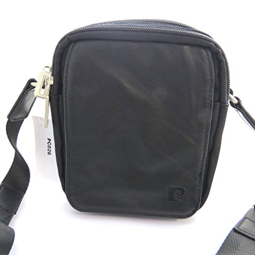 Borsa di tela 'Pierre Cardin'nero (17x15x6 cm).
